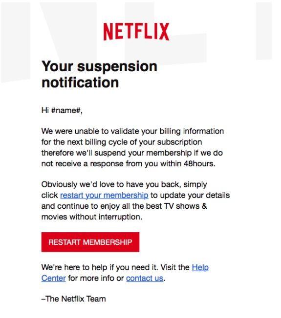 Amenaza de phishing email de Netflix