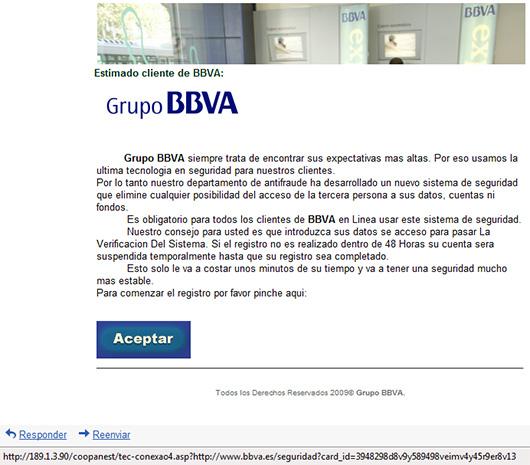 Amenaza de phishing del bancoBBVA
